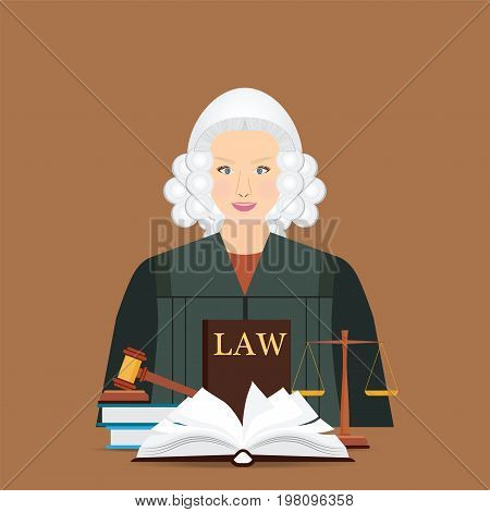 Female judge in wig with Law and justice set icon Scales of justice gavel and books in flat style Conceptual justice and law Vector illustration.