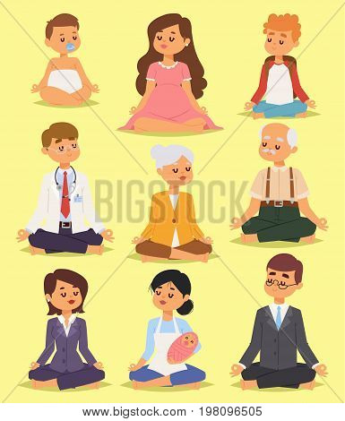 Lotus position yoga pose meditation art relax people isolated on background design concept character happiness vector illustration. Healthy lifestyle zen body asana.