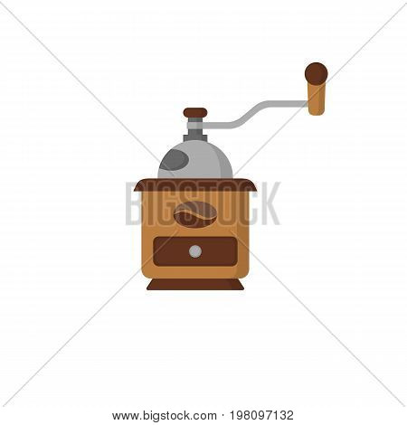 Coffee mill. Flat icon, simple vector design with shadow. Vintage coffee Coffee grinder icon. Vector isolated illustration