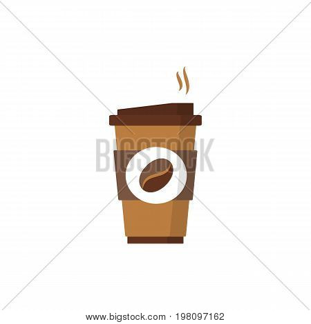 Coffee to go flat icon. Paper coffee cup icon for web and graphic design. Hot drink. Vector illustration.