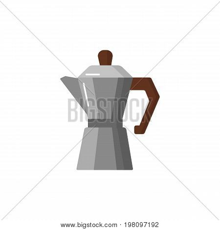 Coffee pot flat icon. Household appliances isolated on colored background. Mocha pot illustration.