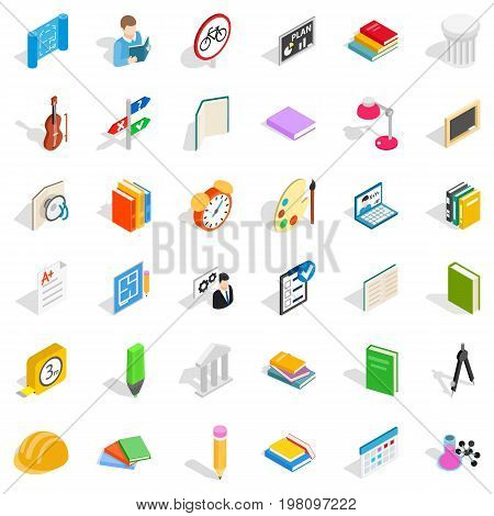 Lesson in college icons set. Isometric style of 36 lesson in college vector icons for web isolated on white background