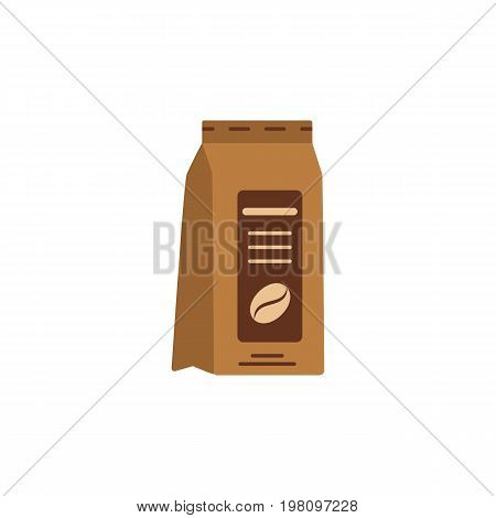 Packaging of coffee beans. Coffee package. Illustration of freshly hot drinks, coffee grain. Colored flat icon. Vector mockup template, packaging design.