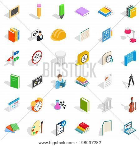 College diploma icons set. Isometric style of 36 college diploma vector icons for web isolated on white background