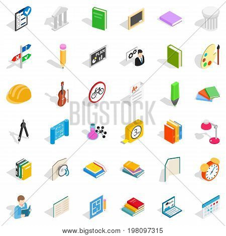 College student icons set. Isometric style of 36 college student vector icons for web isolated on white background