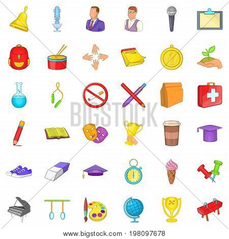 Open college icons set. Cartoon style of 36 open college vector icons for web isolated on white background