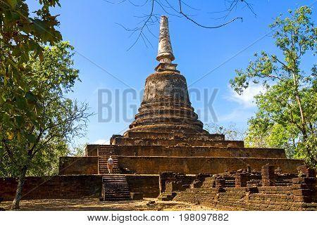 Wat Khao Suwankhiri temple and clear sky in Sisatchanalai Historical Park Sukhothai province Thailand