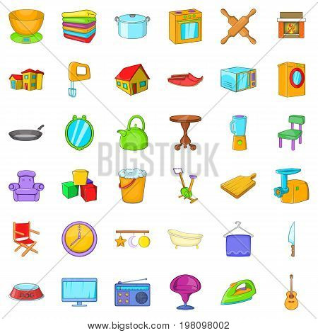Comfortable house icons set. Cartoon style of 36 comfortable house vector icons for web isolated on white background