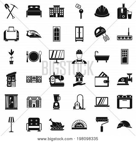 Cozy house icons set. Simple style of 36 cozy house vector icons for web isolated on white background