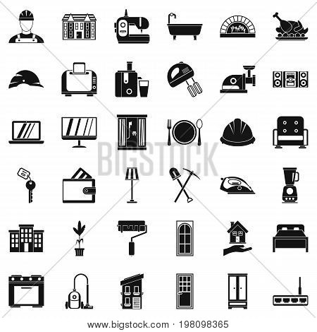 Indoor icons set. Simple style of 36 indoor vector icons for web isolated on white background