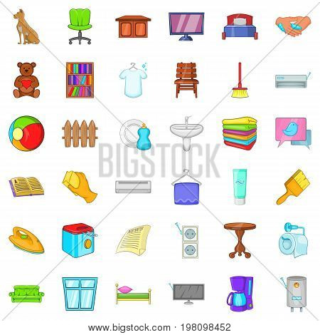 Rest house icons set. Cartoon style of 36 rest house vector icons for web isolated on white background