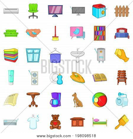 Relax in house icons set. Cartoon style of 36 relax in house vector icons for web isolated on white background
