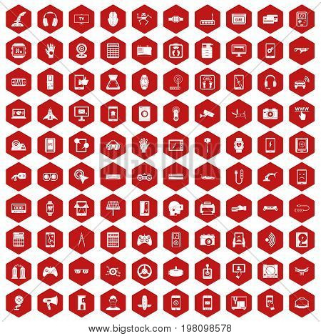 100 adjustment icons set in red hexagon isolated vector illustration