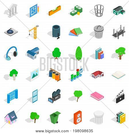 House icons set. Isometric style of 36 house vector icons for web isolated on white background