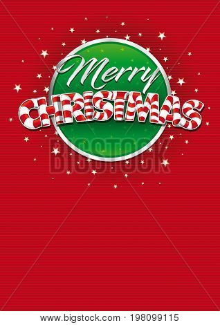 Merry Christmas lettering. Red cover of greeting card with lines texture in background. Layout size: 21 cm x 29.7 cm. A4 size. Lettering design. Vector image