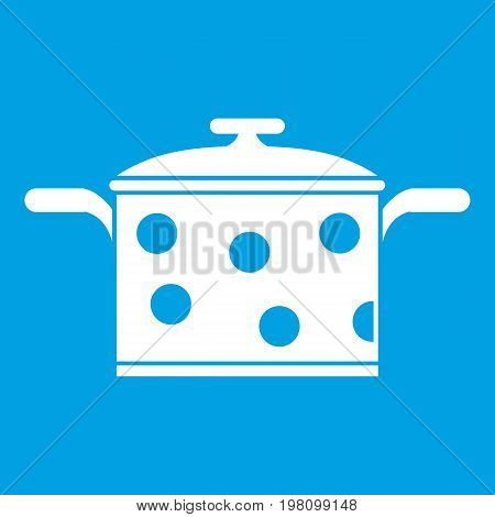 Saucepan with white dots icon white isolated on blue background vector illustration
