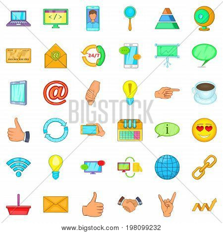 Connection network icons set. Cartoon style of 36 connection network vector icons for web isolated on white background