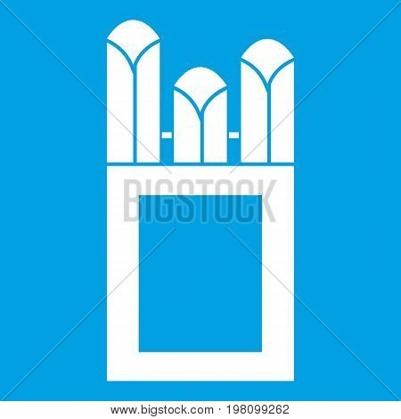 Chalks in carton box icon white isolated on blue background vector illustration