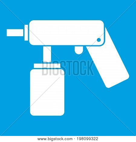 Spray aerosol can bottle with a nozzle icon white isolated on blue background vector illustration