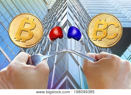 Concept of Bitcoin hardfork split into two currencies Bitcoin cash Cryptocurrency