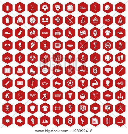 100 athlete icons set in red hexagon isolated vector illustration