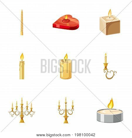 Candles icons set. Cartoon set of 9 candles vector icons for web isolated on white background