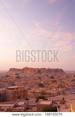 Jaisalmer Fort View Cityscape Morning Sunrise