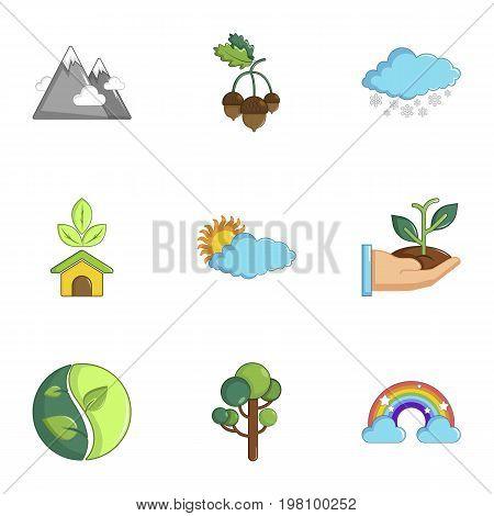 Ecology icons set. Cartoon set of 9 ecology vector icons for web isolated on white background