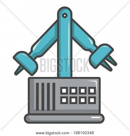 Robotic arm icon. Cartoon illustration of robotic arm vector icon for web design