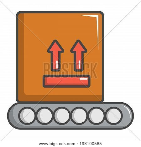 Conveyor belt with box icon. Cartoon illustration of conveyor belt with box vector icon for web design