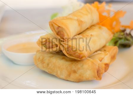 Deep fried vegetable spring rolls stock photo