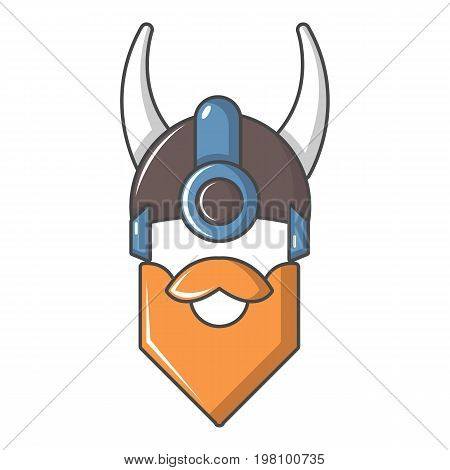 Viking in horned helmet icon. Cartoon illustration of viking in horned helmet vector icon for web design