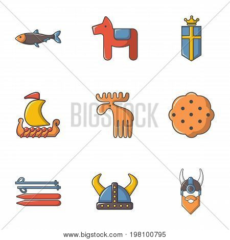 Viking icons set. Cartoon set of 9 viking vector icons for web isolated on white background