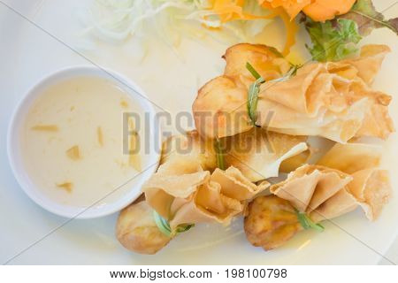 Deep fried dumpling bags local Thai cuisine stock photo