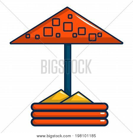 Sandbox with red dotted umbrella nie icon. Cartoon illustration of sandbox with red dotted umbrella vector icon for web design