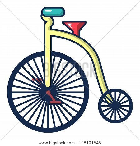 Circus bicycle icon. Cartoon illustration of circus bicycle vector icon for web design