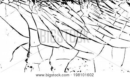 Cracks on the surface of the white old paint. Cracked background. Vector illustration