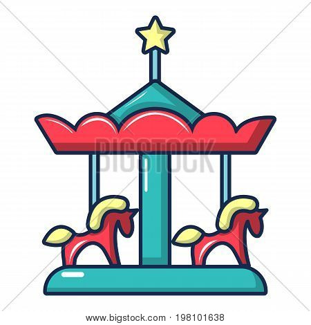 Carousel with horses icon. Cartoon illustration of carousel with horses vector icon for web design