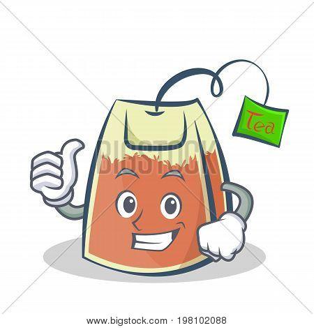 Proud tea bag character cartoon vector illustration