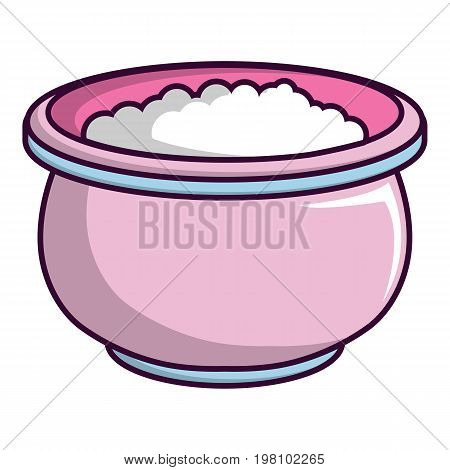 Pink witches cauldron icon. Cartoon illustration of pink witches cauldron vector icon for web design