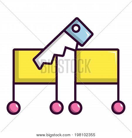Cutting in half magic focus icon. Cartoon illustration of cutting in half magic focus vector icon for web design