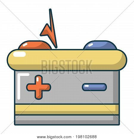 Car battery icon. Cartoon illustration of car battery vector icon for web design