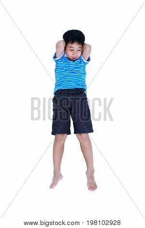 Top view. Exercise boy doing sit-ups at studio shot. Full body of asian sport child smiling cheerful and happy. Isolated on white background.