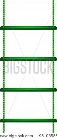 Wooden rope ladder in green design on white background