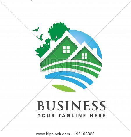 green house logo vector, elegant modern and minimalist green house logo, real estate logo