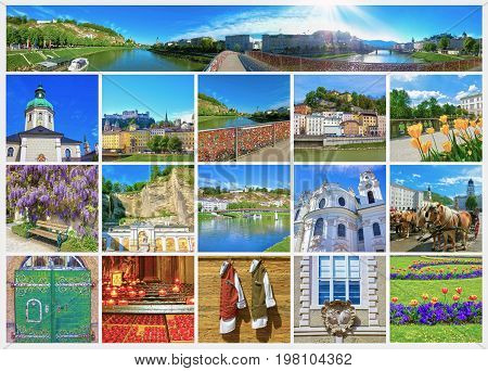 The collage of Salzburg skyline with river Salzach, Salzburger Land, Austria