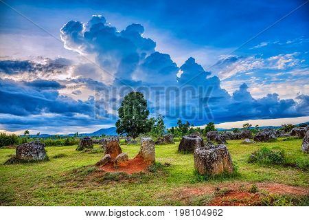 Plain of Jars is a megalithic archaeological landscape. Xieng Khouang Province Laos.