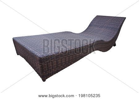 Rattan weave sunbed isolated on white background with clipping path.