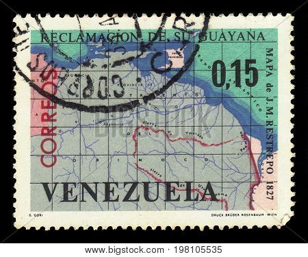 VENEZUELA - CIRCA 1965: A stamp printed in Venezuela shows map of Guayana Esequiba, territory administered by Guyana and claimed by Venezuela, circa 1965