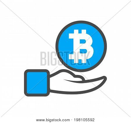 Blockchain conceptual icon with human hand. Distributed ledger technology, business cloud computing, global payment system vector illustration